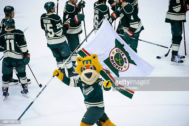 Nordy the mascot for the Minnesota Wild performs after the Wild defeated the Chicago Blackhawks in Game Three of the Second Round of the 2014 NHL...