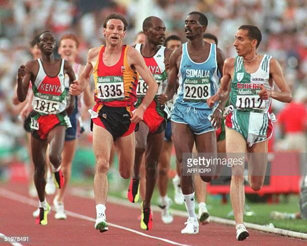Noreddine Morceli of Algeria turns during the men's Olympic 1500m semifinal heat at the Olympic Stadium in Atlanta Georgia 01 Aug Abdi Bile from...
