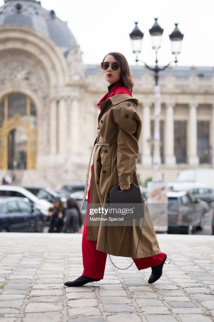 Norelle Weng is seen attending Maison Margiela during Paris Fashion Week wearing Zara, self made suit on September 27, 2017 in Paris, France.