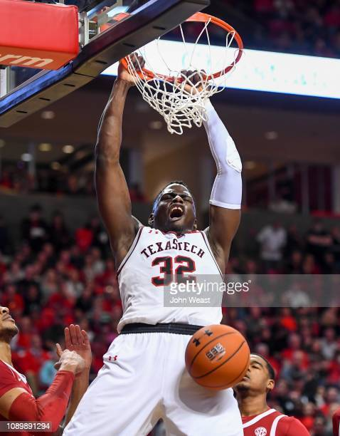 Norense Odiase of the Texas Tech Red Raiders dunks the basketball during the second half of the game against the Arkansas Razorbacks on January 26...
