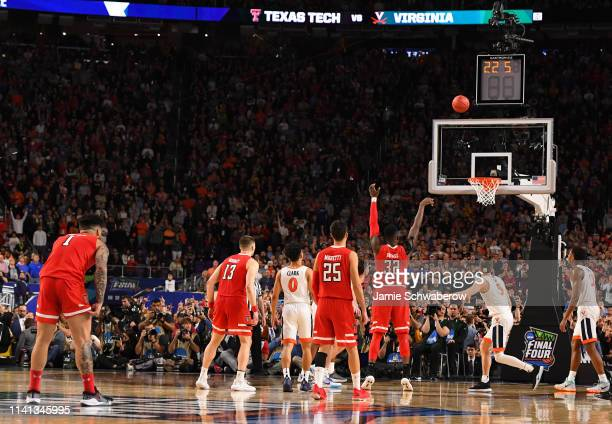 Norense Odiase of the Texas Tech Red Raiders shoots a free throw against the Virginia Cavaliers during the second half of the 2019 NCAA men's Final...