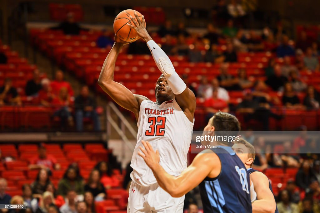 Norense Odiase #32 of the Texas Tech Red Raiders shoots the ball during the game against the Maine Black Bears on November 14, 2017 at United Supermarkets Arena in Lubbock, Texas. Texas Tech defeated Maine 83-44.