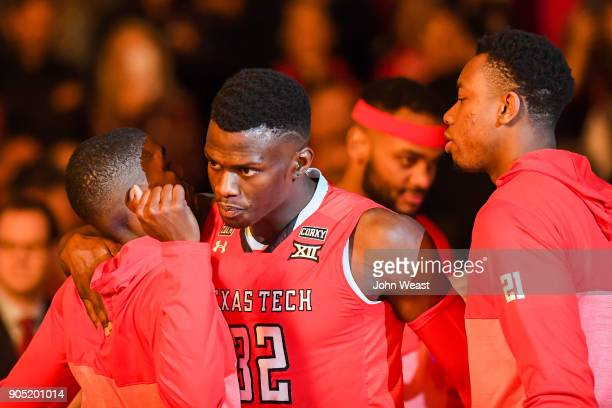 Norense Odiase of the Texas Tech Red Raiders takes the court during player introductions before the game against the West Virginia Mountaineers on...