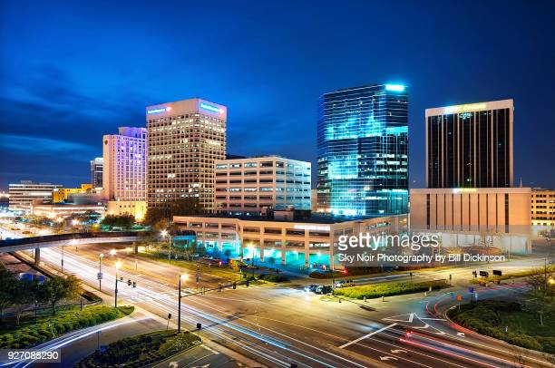 norfolk blue hour skyline - norfolk virginia stock photos and pictures