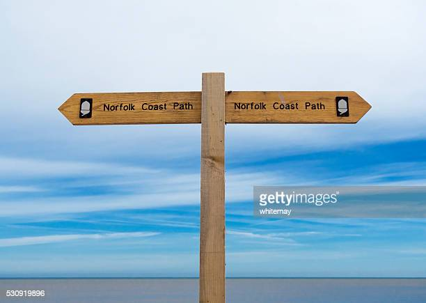 Norfolk Coast Path signpost by the sea