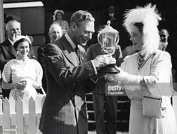 Norfolk England 26th May King George VI and Queen Elizabeth with a trophy at the Royal Norfolk Show