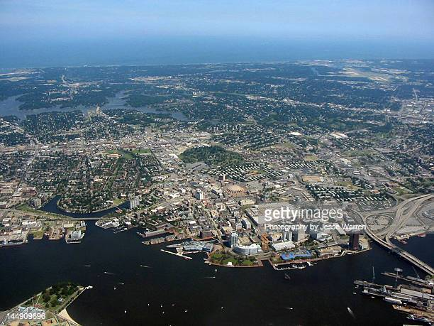 norfolk from sky - norfolk virginia stock photos and pictures