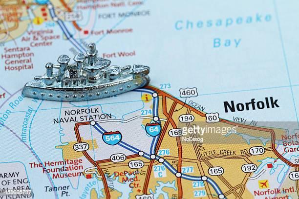 norfolk naval base with battleship game piece - marinebasis stockfoto's en -beelden
