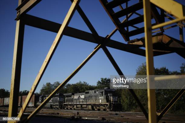 A Norfolk Southern Corp freight train sits parked in a rail yard in Danville Kentucky US on Tuesday Oct 17 2017 Norfolk Southern Corp is scheduled to...