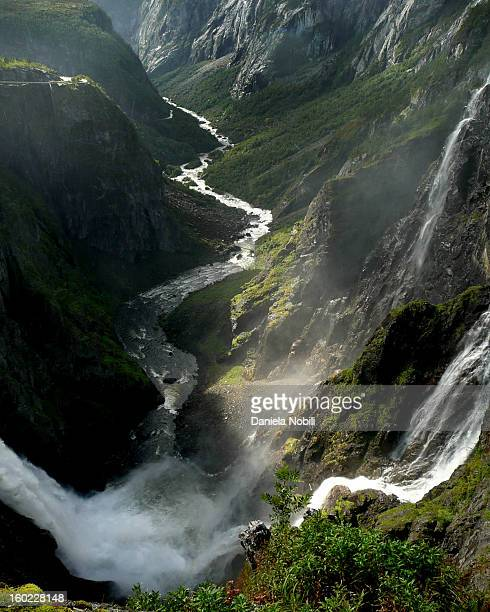 Norge, mountain, waterfall. Gudvangen, nature, Tvinde waterfall.