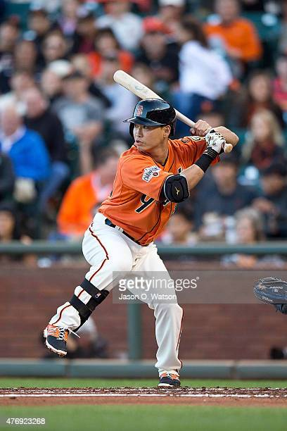 Nori Aoki of the San Francisco Giants at bat against the Arizona Diamondbacks during the first inning at ATT Park on June 12 2015 in San Francisco...