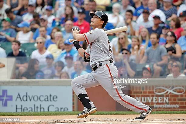 Nori Aoki of the San Francisco Giants at bat against the Chicago Cubs during the first inning at Wrigley Field on August 9 2015 in Chicago Illinois