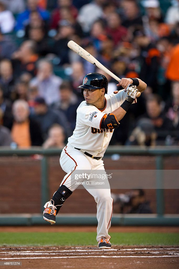 Nori Aoki #23 of the San Francisco Giants at bat against the Colorado Rockies during the first inning at AT&T Park on April 14, 2015 in San Francisco, California. The Colorado Rockies defeated the San Francisco Giants 4-1.