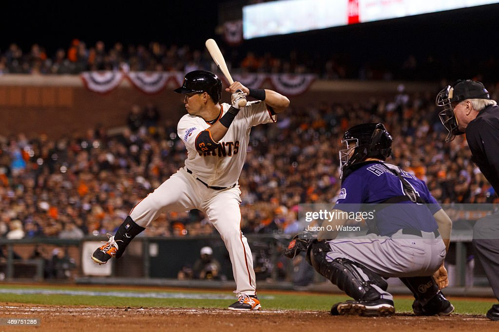 Nori Aoki #23 of the San Francisco Giants at bat against the Colorado Rockies during the third inning at AT&T Park on April 14, 2015 in San Francisco, California. The Colorado Rockies defeated the San Francisco Giants 4-1.