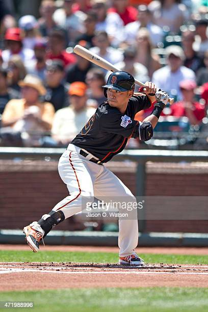 Nori Aoki of the San Francisco Giants at bat against the Los Angeles Angels of Anaheim during the first inning at ATT Park on May 2 2015 in San...