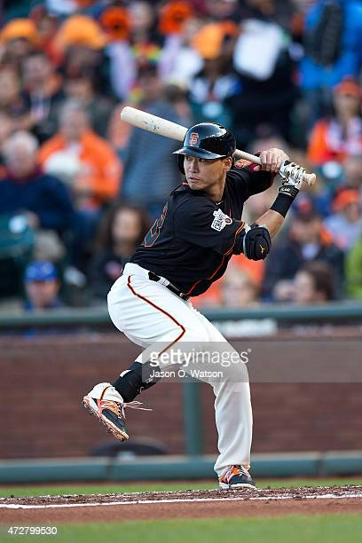Nori Aoki of the San Francisco Giants at bat against the Miami Marlins during the first inning at ATT Park on May 9 2015 in San Francisco California