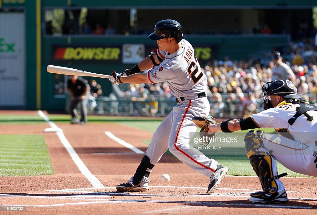 Nori Aoki #23 of the San Francisco Giants at bat in the first inning during the game against the Pittsburgh Pirates at PNC Park on August 22, 2015 in Pittsburgh, Pennsylvania.