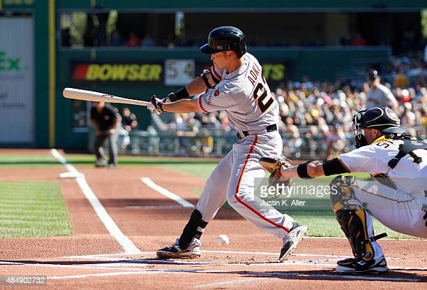 Nori Aoki of the San Francisco Giants at bat in the first inning during the game against the Pittsburgh Pirates at PNC Park on August 22 2015 in...