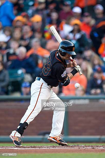 Nori Aoki of the San Francisco Giants avoids an inside pitch against the Miami Marlins during the first inning at ATT Park on May 9 2015 in San...