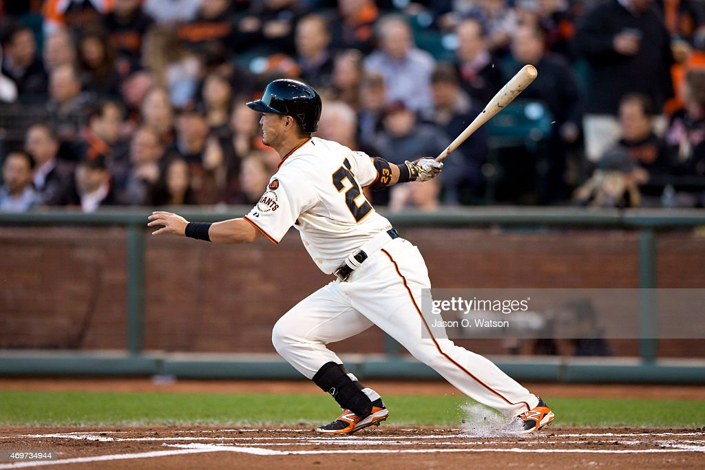 Nori Aoki #23 of the San Francisco Giants bats against the Colorado Rockies during the first inning at AT&T Park on April 14, 2015 in San Francisco, California.