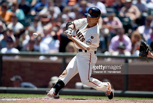 Nori Aoki of the San Francisco Giants bats against the Seattle Mariners in the bottom of the fifth inning at ATT Park on June 16 2015 in San...