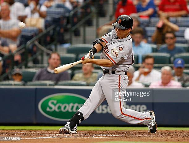 Nori Aoki of the San Francisco Giants flies out in the fourth inning during the game against the Atlanta Braves at Turner Field on August 3 2015 in...