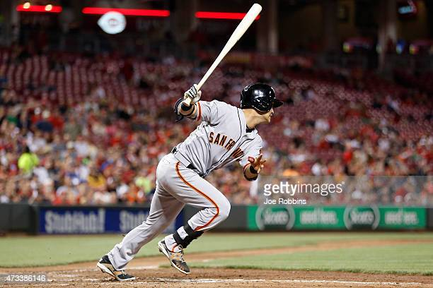 Nori Aoki of the San Francisco Giants grounds into a double play in the seventh inning of the game against the Cincinnati Reds at Great American Ball...