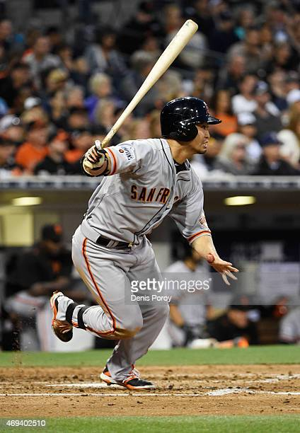 Nori Aoki of the San Francisco Giants grounds out during the fifth inning of a baseball game against the San Diego Padres at Petco Park April 11,...