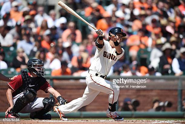 Nori Aoki of the San Francisco Giants hits a double against the Arizona Diamondbacks in the bottom of the first inning at ATT Park on April 19 2015...