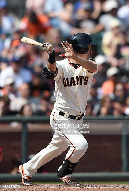 Nori Aoki of the San Francisco Giants hits a line drive to third base for an out against the St Louis Cardinals in the bottom of the fifth inning at...