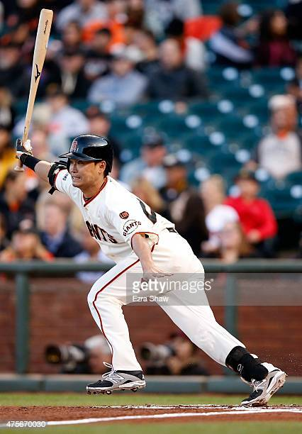 Nori Aoki of the San Francisco Giants hits a sinlge in the first inning against the Pittsburgh Pirates at AT&T Park on June 2, 2015 in San Francisco,...