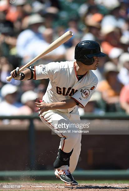 Nori Aoki of the San Francisco Giants lines out to third baseman Hernan Perez of the Milwaukee Brewers in the bottom of the six inning at ATT Park on...