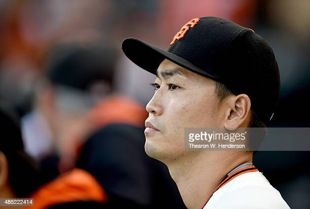 Nori Aoki of the San Francisco Giants looks on from the dugout prior to the start of the game against the Chicago Cubs at AT&T Park on August 25,...