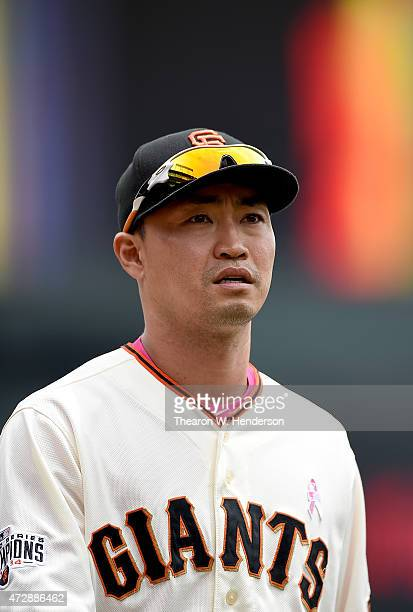 Nori Aoki of the San Francisco Giants looks up in the stands as he prepairs to play the Miami Marlins at AT&T Park on May 10, 2015 in San Francisco,...