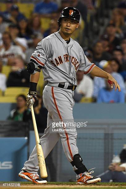 Nori Aoki of the San Francisco Giants prepares to bat in the fifth inning against the Los Angeles Dodgers at Dodger Stadium on April 28 2015 in Los...