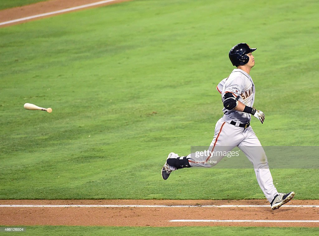 Nori Aoki #23 of the San Francisco Giants reacts to his groundout during the fifth inning against the Los Angeles Dodgers at Dodger Stadium on August 31, 2015 in Los Angeles, California.
