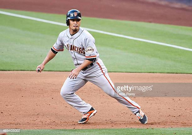 Nori Aoki of the San Francisco Giants runs to second base during the third inning of a baseball game against the San Diego Padres at Petco Park April...