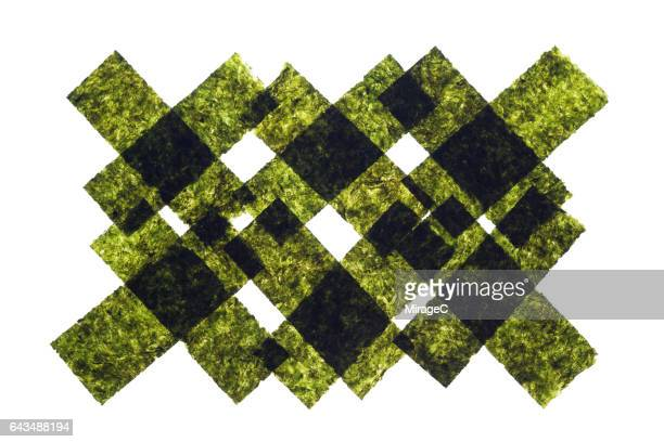 nori seaweed sheets crisscross shape - nori stock pictures, royalty-free photos & images