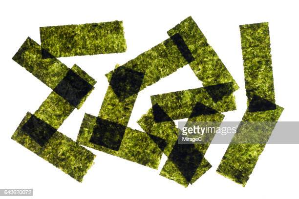 nori seaweed sheets heap - nori stock pictures, royalty-free photos & images