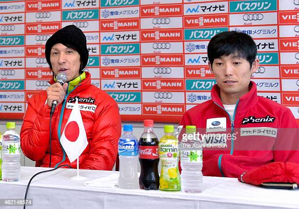 Noriaki Kasai and Daiki Ito of Japan attend a press conference ahead of the FIS Men's Ski Jumping World Cup Sapporo on January 23 2015 in Sapporo...