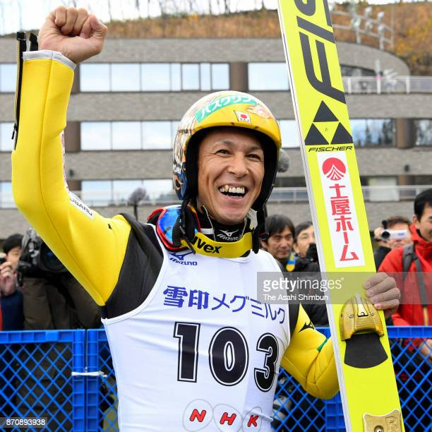 Noriaki Kasai celebrates winning the men's event during the 96th All Japan Ski Championships Ski Jumping at Okurayama Jump Stadium on November 5 2017...
