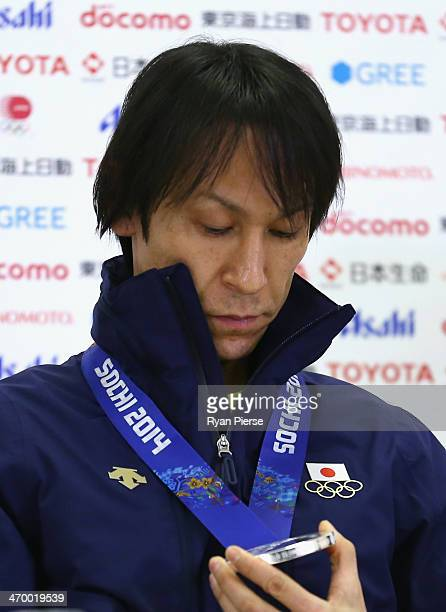 Noriaki Kasai of Japan attends a Japanese medalist press conference at Japan House on day 11 of the Sochi 2014 Winter Olympics on February 18 2014 in...