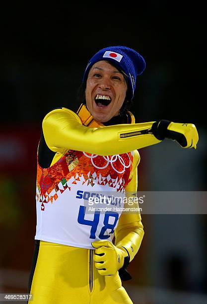 Noriaki Kasai of Japan celebrates after the Men's Large Hill Individual Final Round on day 8 of the Sochi 2014 Winter Olympics at the RusSki Gorki...