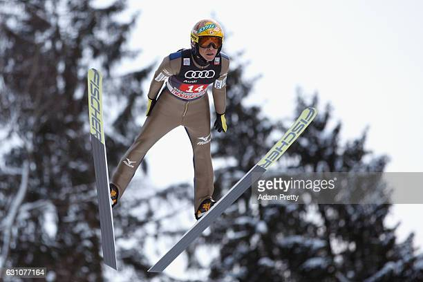 Noriaki Kasai of Japan competes at the trail round on Day 2 of the 65th Four Hills Tournament ski jumping event at PaulAusserleitnerSchanze on...