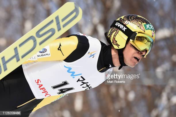 Noriaki Kasai of Japan competes during day two of the FIS Ski Jumping World Cup Sapporo at Okurayama Jump Stadium on January 27 2019 in Sapporo...