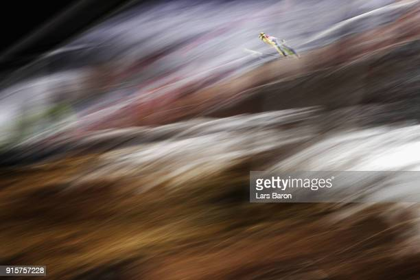 Noriaki Kasai of Japan competes during Men's Normal Hill Individual Qualification at Alpensia Ski Jumping Centre on February 8 2018 in Pyeongchanggun...