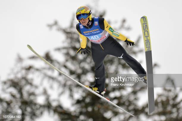 Noriaki Kasai of Japan competes during the 67th FIS Nordic World Cup Four Hills Tournament ski jumping event at Bergisl Schanze on January 4 2019 in...