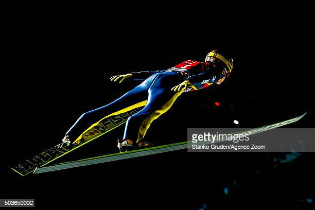 Noriaki Kasai of Japan competes during the FIS Nordic World Cup Four Hills Tournament on January 6 2016 in Bischofshofen Austria