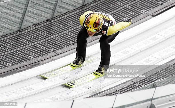 Noriaki Kasai of Japan competes during the FIS Ski Jumping World Cup event of the 58th Four Hills Ski Jumping Tournament on December 31, 2009 in...