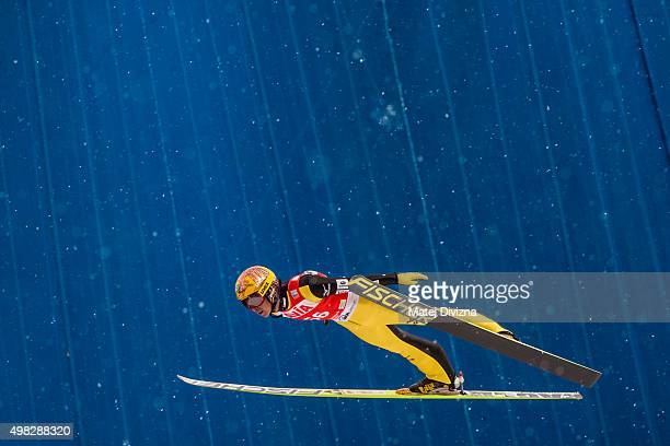 Noriaki Kasai of Japan competes during the individual competition at the FIS World Cup Ski Jumping day three on November 22 2015 in Klingenthal...